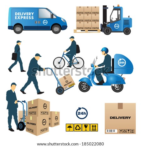 Set of delivery and shipment service Vector illustration