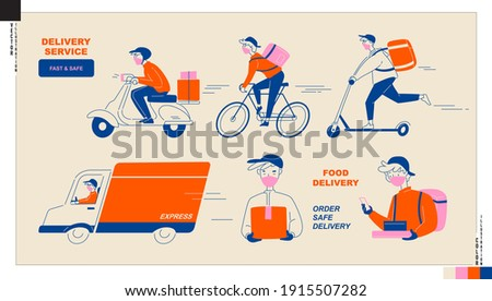 Set of delivery man icons. Food and parcel delivery service by truck, motorbike, bicycle and  kick scooter. New normal lifestyle, safe delivery service.