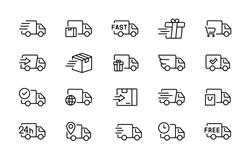Set of delivery truck icons. Сollection of simple linear web icons from different delivery tracks and boxes.Editable vector stroke. 96x96 Pixel Perfect.