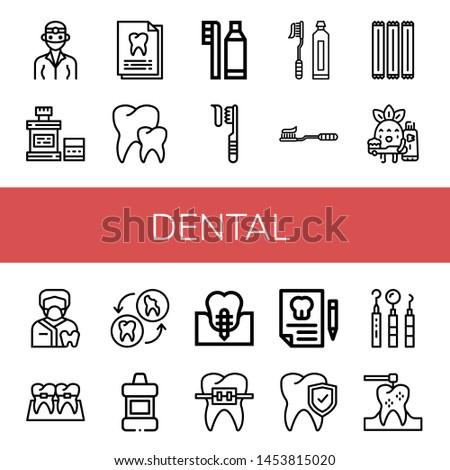 Set of dental icons such as Dentist, Mouthwash, Dental record, Teeth, Dental hygiene, Toothbrush, Tooth Brush, Toothpick, Toothbrushing, Braces, Tooth, implant , #1453815020