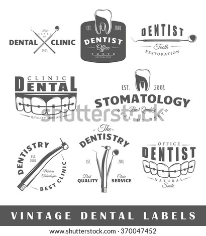 Set of dentist labels. Elements for design on the dentist theme. Collection of dentist symbols: tooth, jaw, dental tools. Modern labels of dentist. Emblems and logos of dentist. Vector illustration