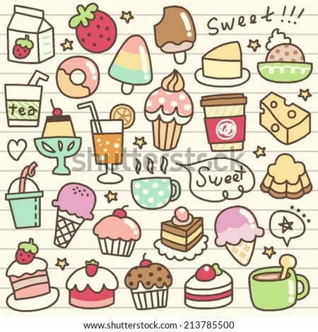 set of desert and drink doodle