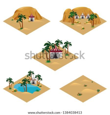 set of desert landscape