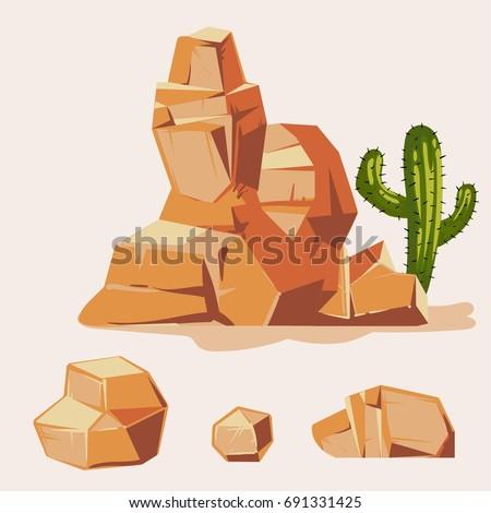 set of desert rocks cartoon