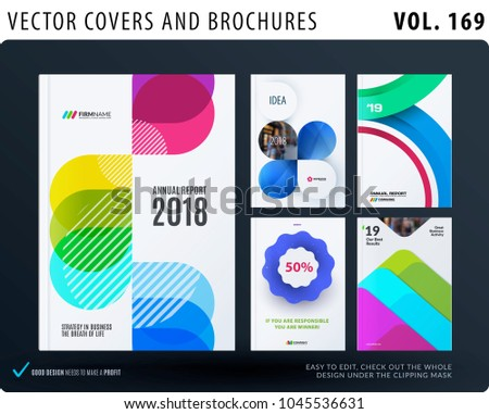 Set of design brochure, abstract annual report, horizontal cover layout, flyer in A4 with vector colourful geometric shapes