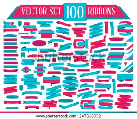 Set of design elements consisting of 100 different flat banners ribbon. Vector illustration.