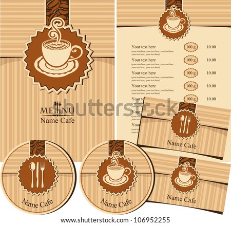 set of design elements for a cafe or restaurant