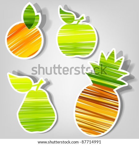 set of design elements for advertising fresh fruit