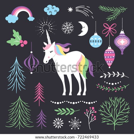set of design elements for christmas or new year cards or other