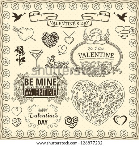 Set of design elements for Valentines Day