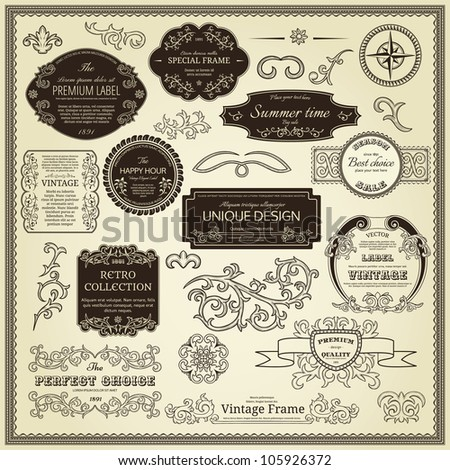 Set of design elements labels borders frames etc Could be used for page decoration certificate etc