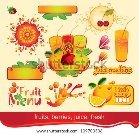 set of design elements on juices, fruit