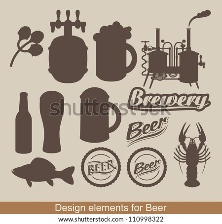set of design elements on the subject of beer