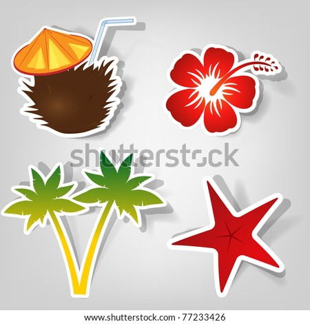 set of design elements to advertise a beach party - stock vector