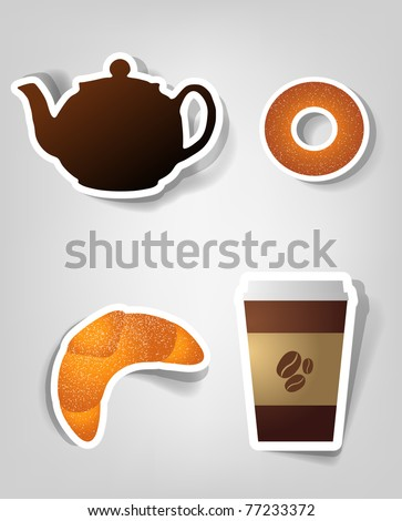 set of design elements to advertise cafe