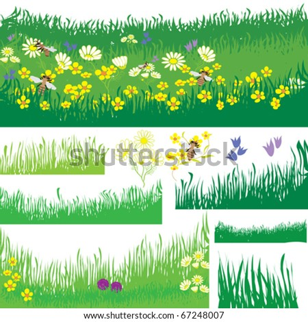 Set of design elements with grass, flowers and bees - stock vector