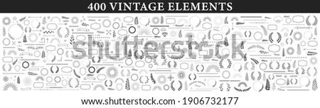 Set of 400 design elements. Wreath, frames, calligraphic, swirls divider, laurel leaves, ornate, award, arrows. Decorative vintage line elements collection Vector illustration