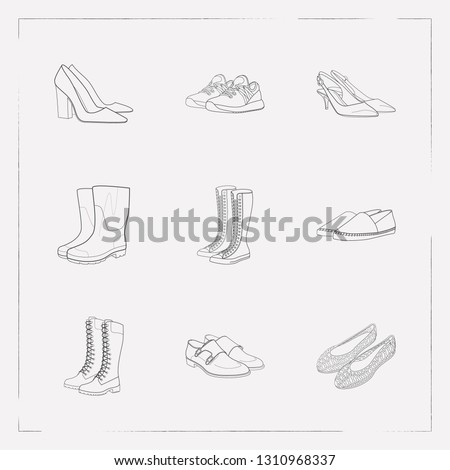 Set of design icons line style symbols with espadrille shoes, gumboots, trainer shoes and other icons for your web mobile app logo design.