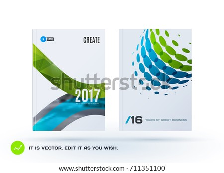 Set of Design of business vector template, brochure, abstract annual report, cover modern layout