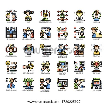 Set of design thinking thin line and pixel perfect icons for any web and app project.  Foto stock ©