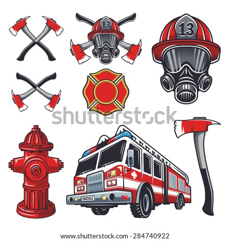 set of designed firefighter