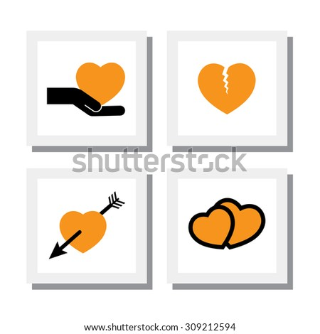 set of designs heart and love