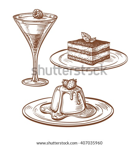 Set of desserts. Isolated on white background. Hand drawn vector illustration. Retro style.