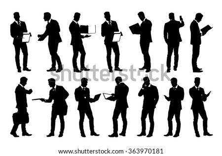 set of detailed businessman in