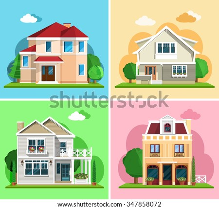 Set of detailed colorful cottage houses. Flat style modern buildings. Vector illustration