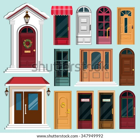 Set of detailed colorful front doors to private houses and buildings. Door with Christmas wreath & Knocker Door Vector - Download Free Vector Art Stock Graphics \u0026 Images