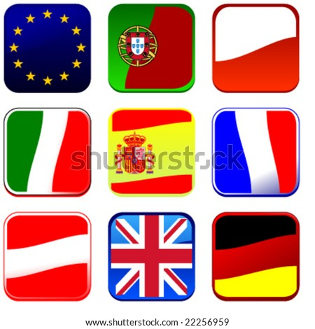 set of detailed flag icons europe vector illusrtation part 1 of 4