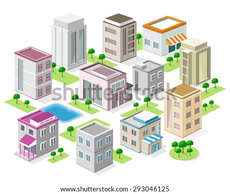 set of detailed isometric city