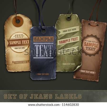 Set of detailed jeans tags