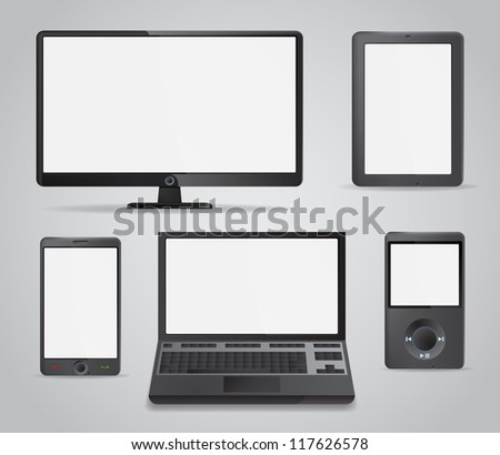 Set of detailed modern electronic media devices with empty white screens. EPS10 vector.