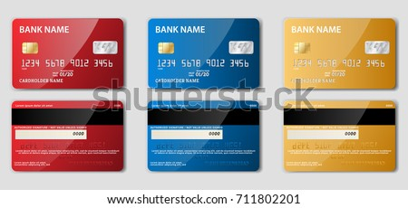 Set of detailed realistic credit cards on grey background. Vector illustration. Two sided. Front and back.