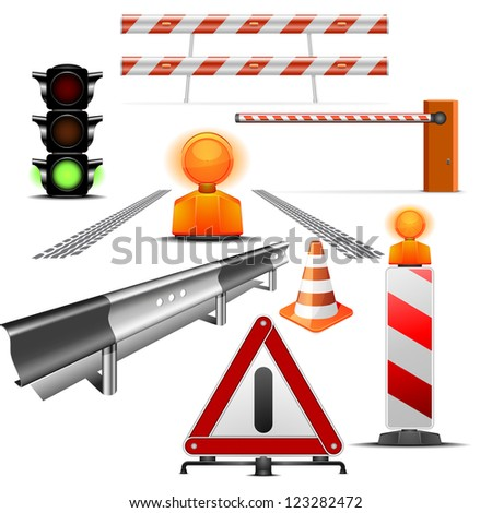 set of detailed traffic and construction illustrations isolated on white
