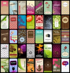 set of 40 detailed vertical business cards in different styles
