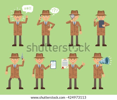 Set of detective characters posing in different situations. Cheerful detective talking on phone, thinking, holding gun, magnifier, loudspeaker, notepad, document. Simple style vector illustration