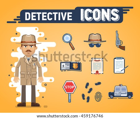 Set of detective icons. Confident detective in brown coat. Hat, magnifying glass, police car, fingerprints, badge, stop sign, notepad and other detective icons. Flat style vector illustration