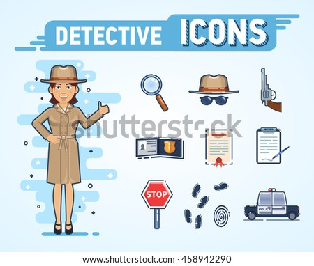 Set of detective icons. Confident female detective in brown coat. Hat, magnifying glass, police car, fingerprints, badge, stop sign, notepad and other detective icons. Flat style vector illustration