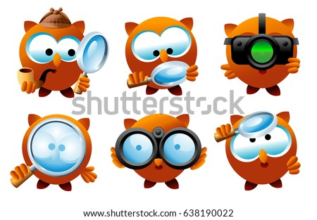 Set of detective owl characters with magnifying glass, binocular and night vision.