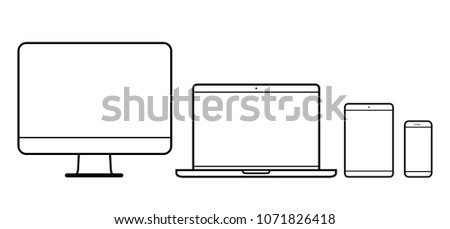 Set of device line icon. Computer, laptop, tablet pc and phone set. Vector illustration