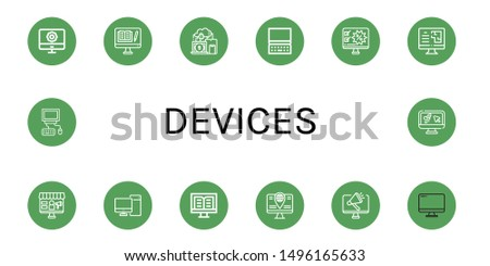 Set of devices icons such as Computer, Devices , devices