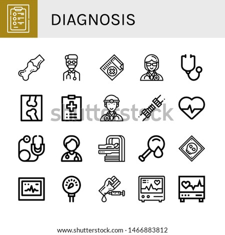 Set of diagnosis icons such as Diagnosis, Joint, Doctor, Medical certificate, Stethoscope, X ray, Medical record, Cardiology, Mri, Blood test, Ecg, Pressure, Electrocardiogram , diagnosis