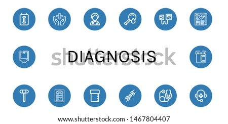 Set of diagnosis icons such as X ray, Healthcare, Doctor, Blood test, Sphygmomanometer, Medical record, Reflex hammer, Diagnosis, Sample tube, Joint, Stethoscope, Medical support , diagnosis