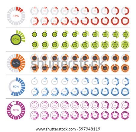 Set of diagram infographic elements. 0, 5, 10, 15, 20, 25, 30, 35, 40, 45, 50, 55, 60, 65, 70, 75, 80, 85, 90, 95, 100 percents.