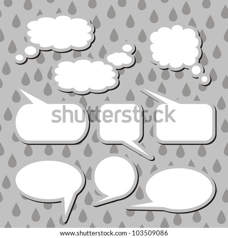 set of dialog clouds on grey