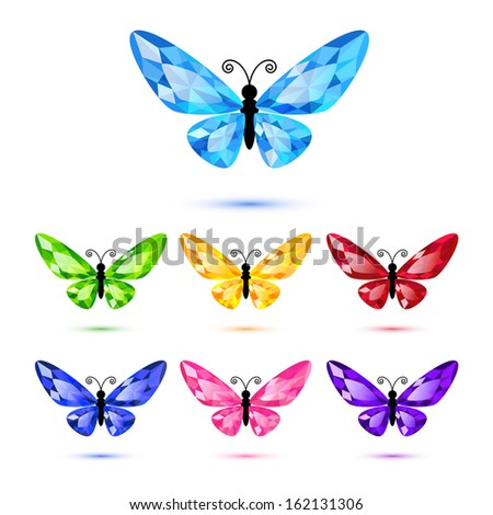 Set of diamond butterflies isolated on white