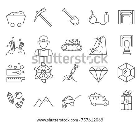 Set of diamond mining Related Vector Line Icons. Includes such Icons as diamond, gold, mining, mining equipment, minerals, miners and etc.