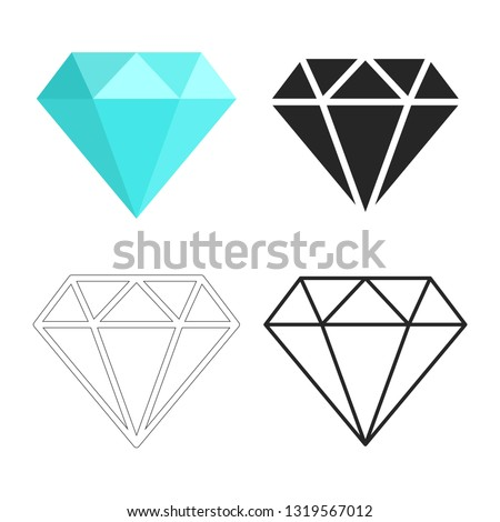 Set of diamonds icon. Linear outline sign. Blue, black and white diamond. Template design for corporate business logo, mobile or web app. Vector illustration